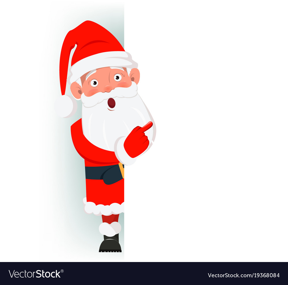 surprised santa claus standing behind a sign and vector image