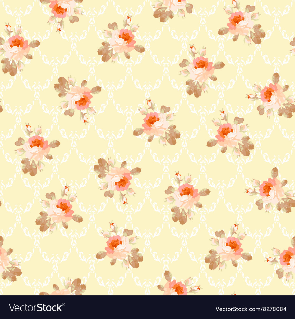 Vintage seamless pattern with pastel roses