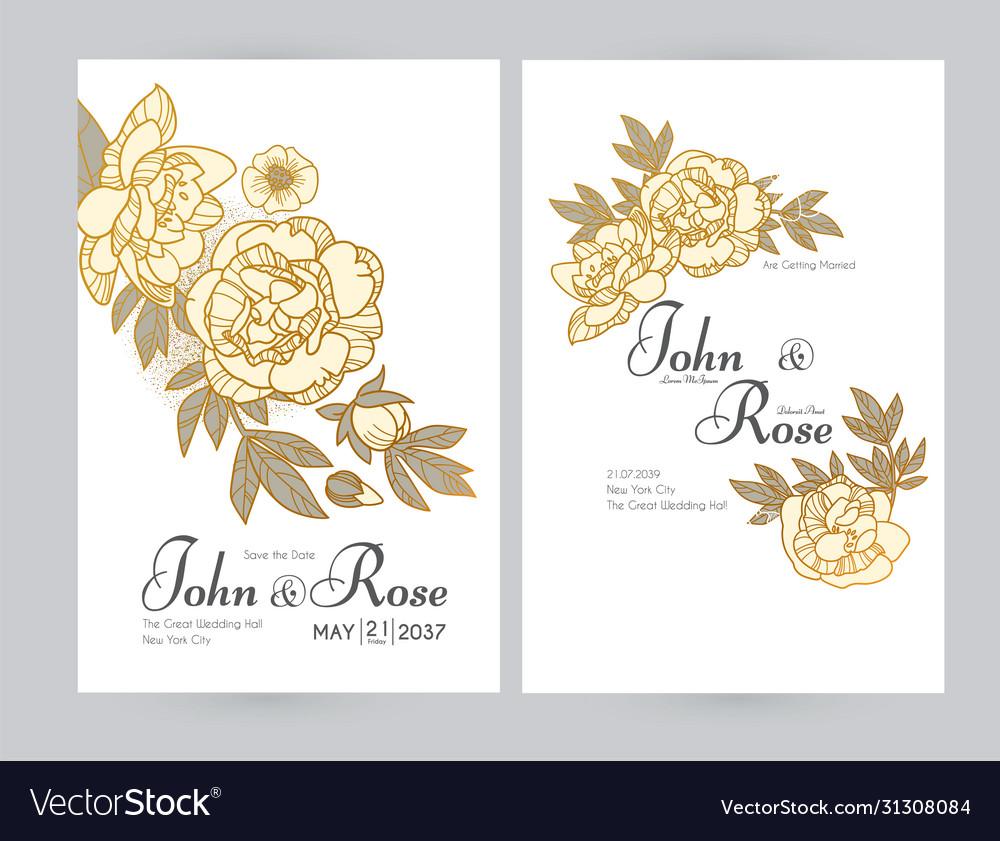 Wedding invitation card set with peony flowers