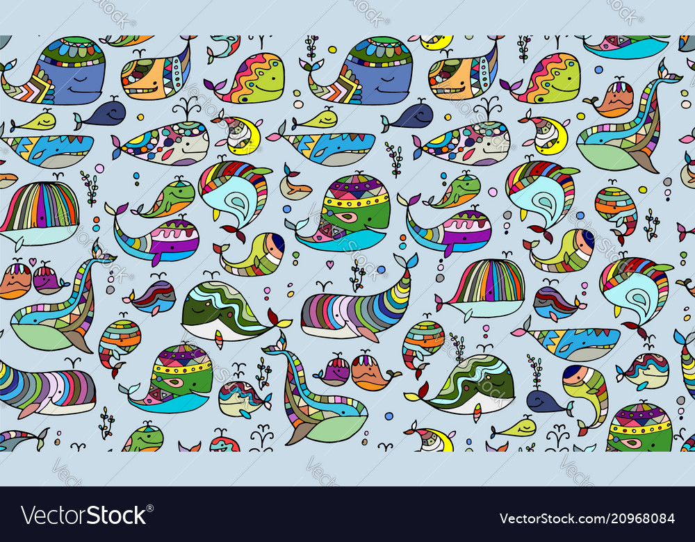 Whales collection seamless pattern for your