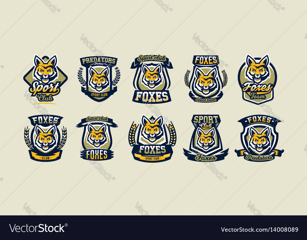 A collection of colorful logos emblems fox head