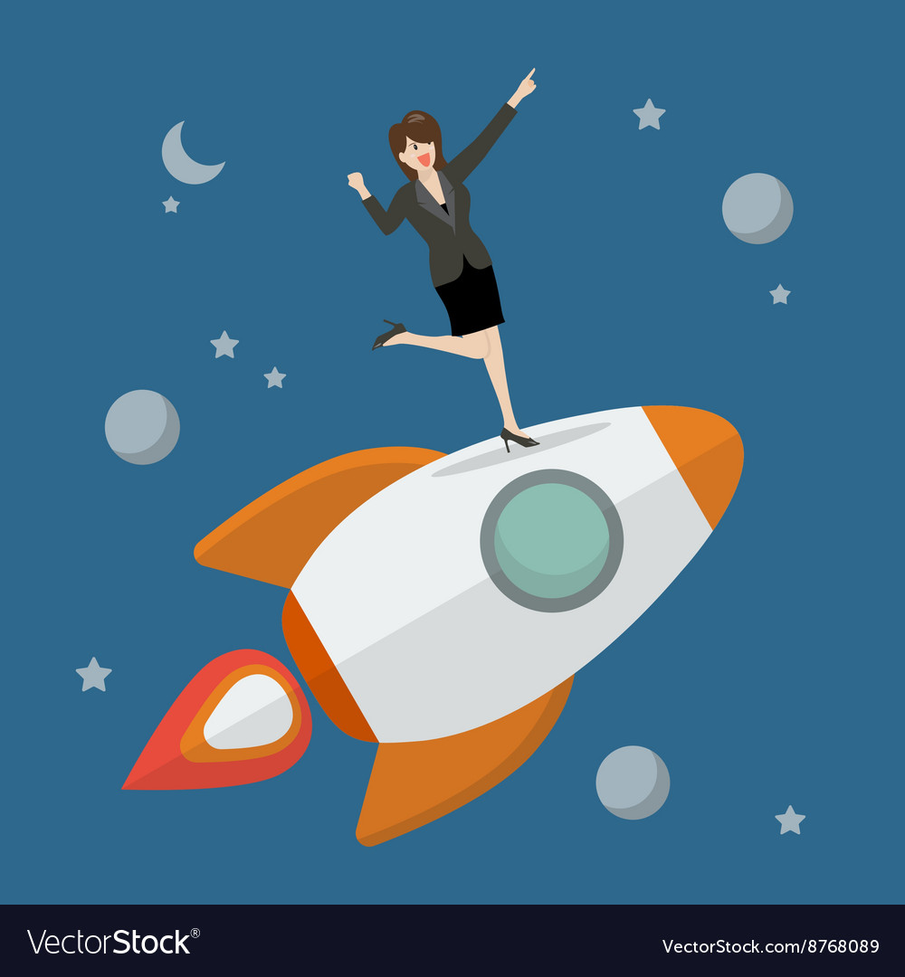 Business woman standing on a rocket