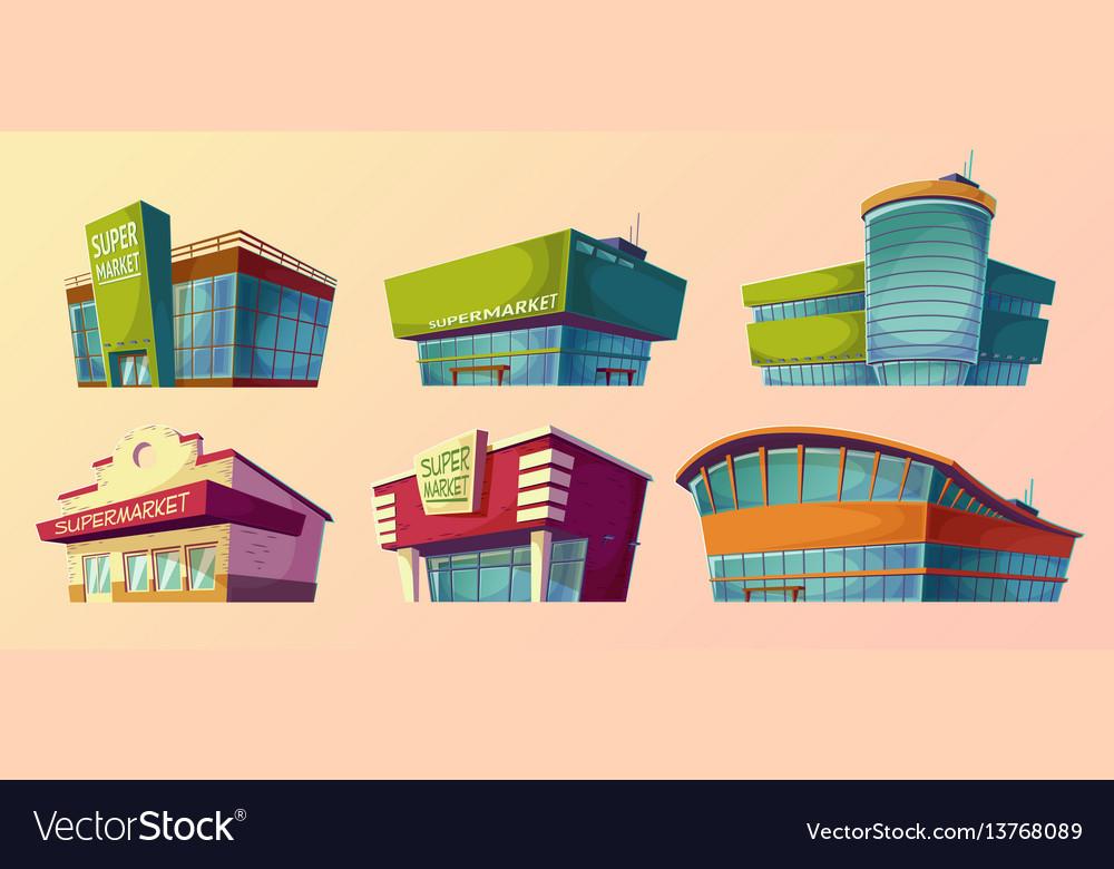 Cartoon retro and modern supermarket vector image