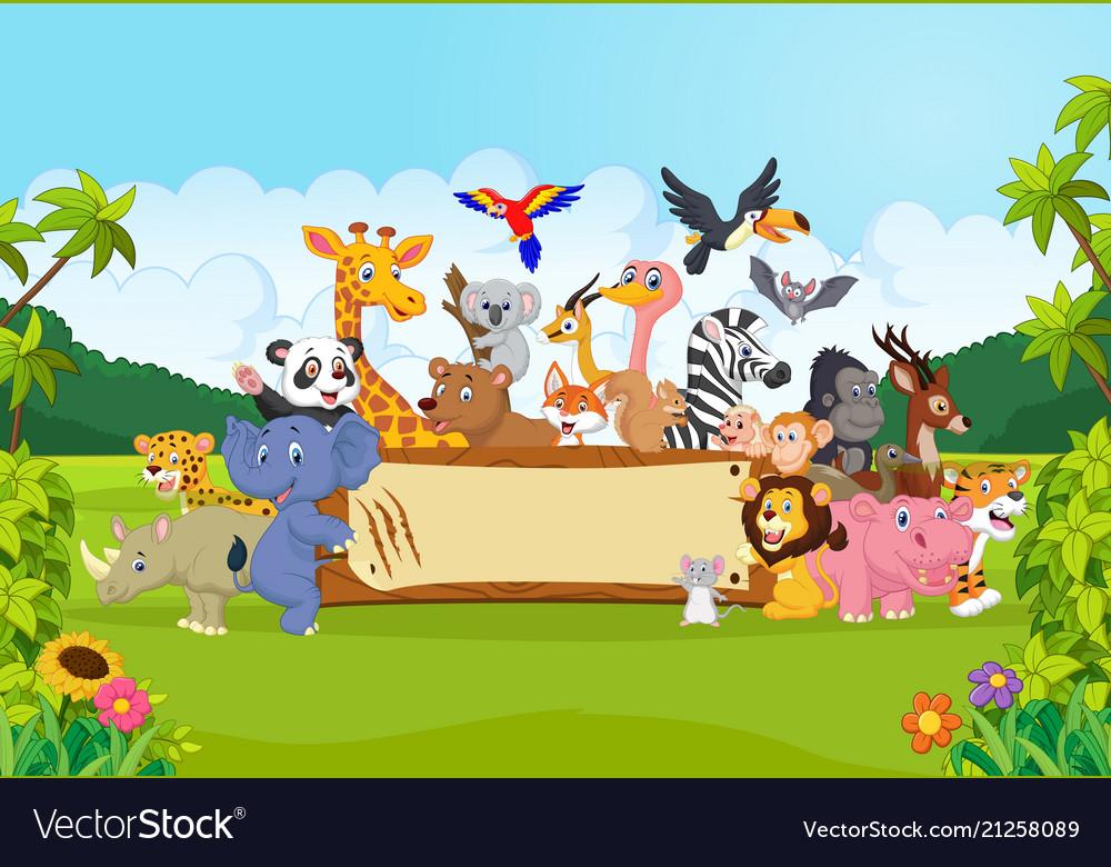 Cartoon wild animals holding banner