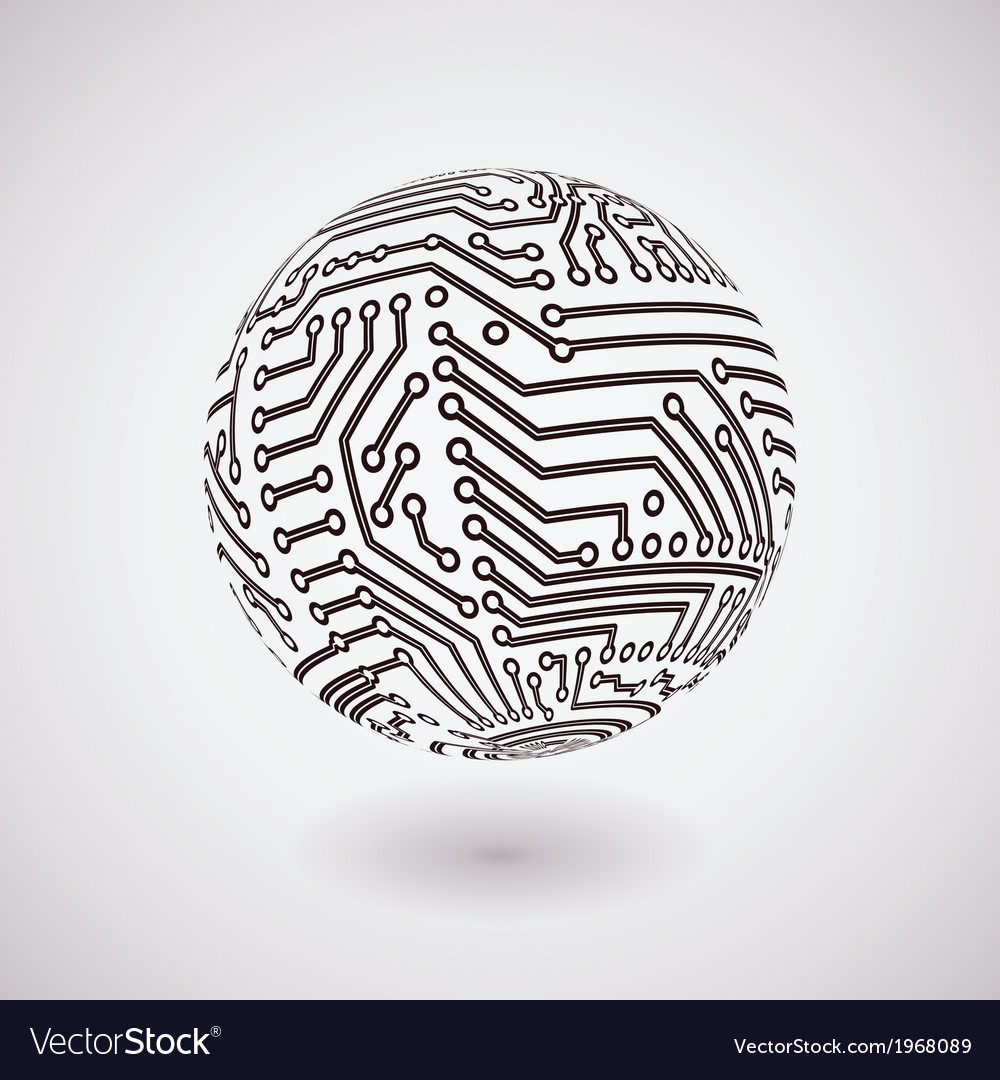 Circuit board sphere vector image