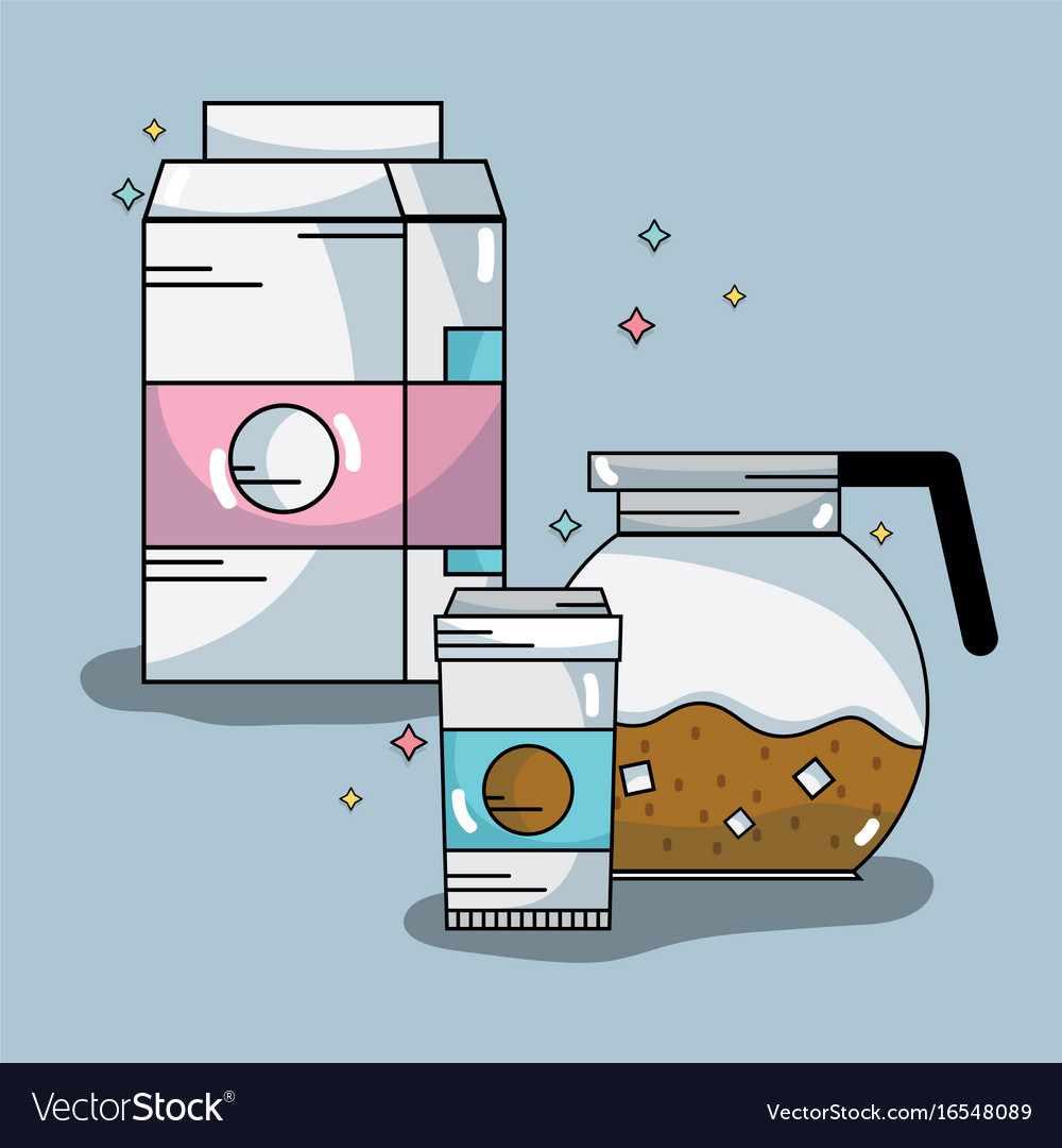 Coffee pitcher an plastic cup with milk box vector image