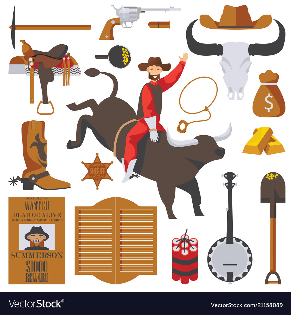 Collection of wild west objects isolated on