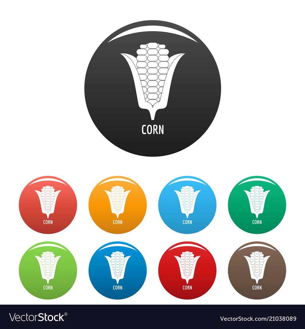 Corn icons set color