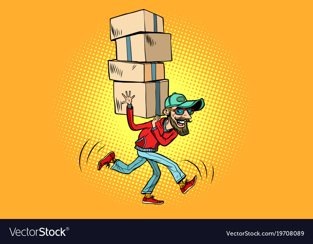 Courier delivery the employee quickly runs vector image