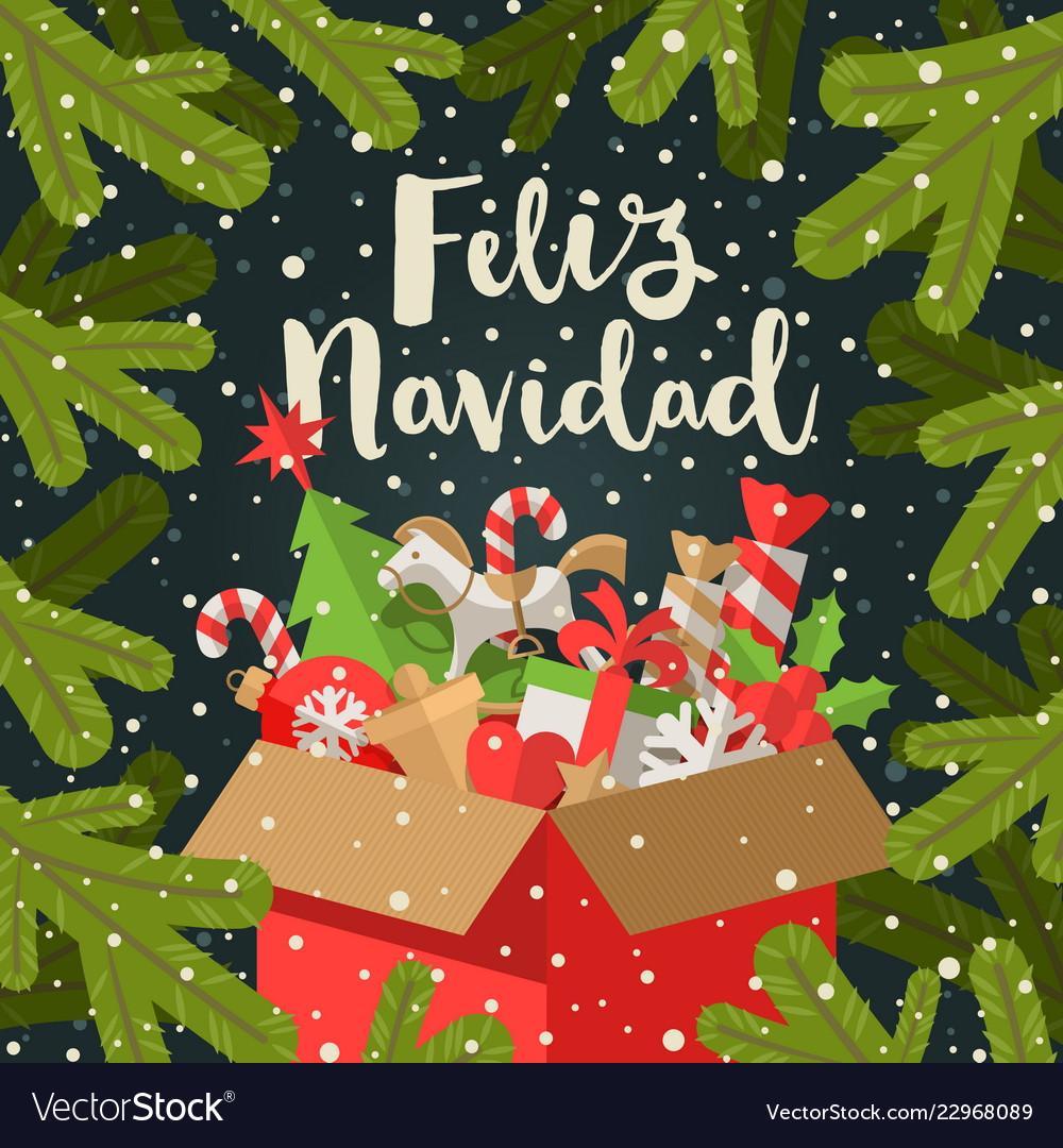 Feliz Navidad Christmas Greetings In Spanish Vector Image