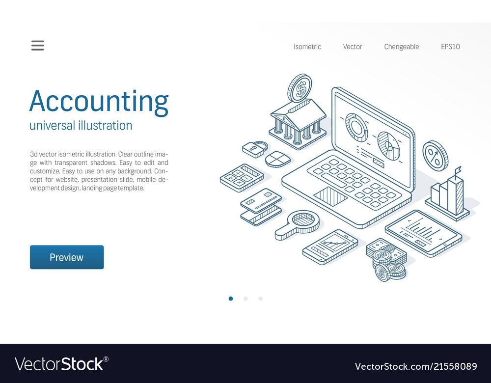 Finance modern isometric line