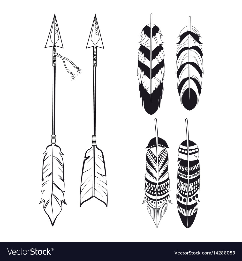 Free spirit feathers and arrows ornament vector image