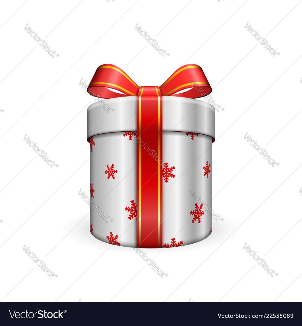 Gift box 3d red ribbon bow isolated white