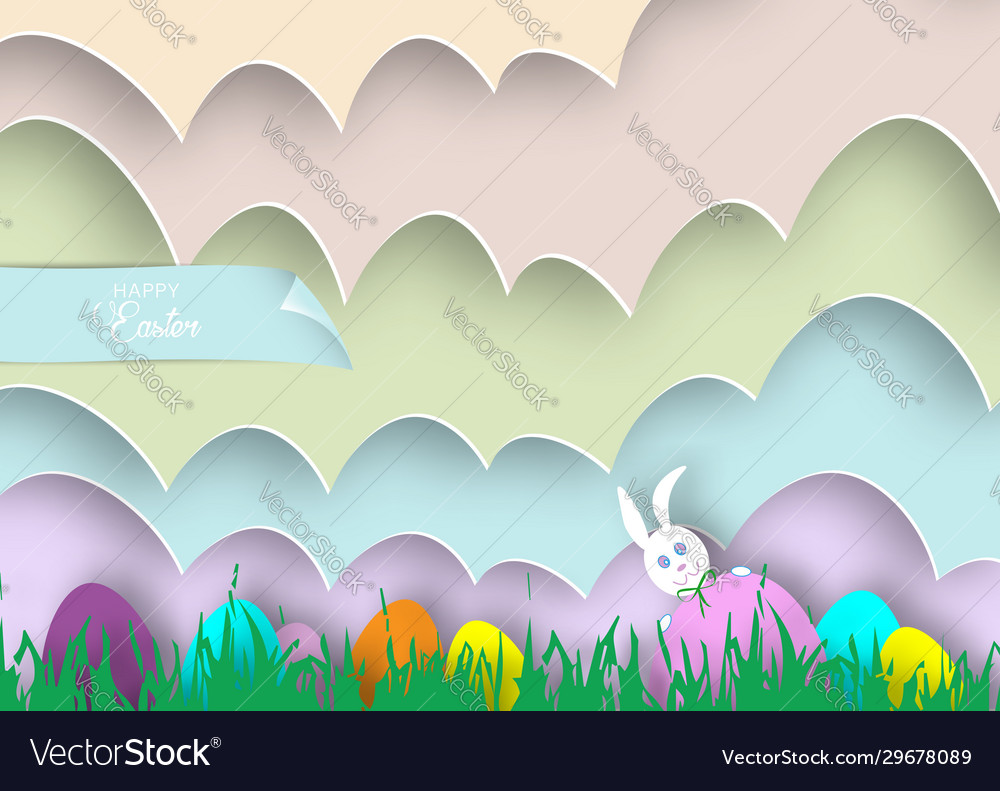 Happy easter cartoon paper cut style white rabbit