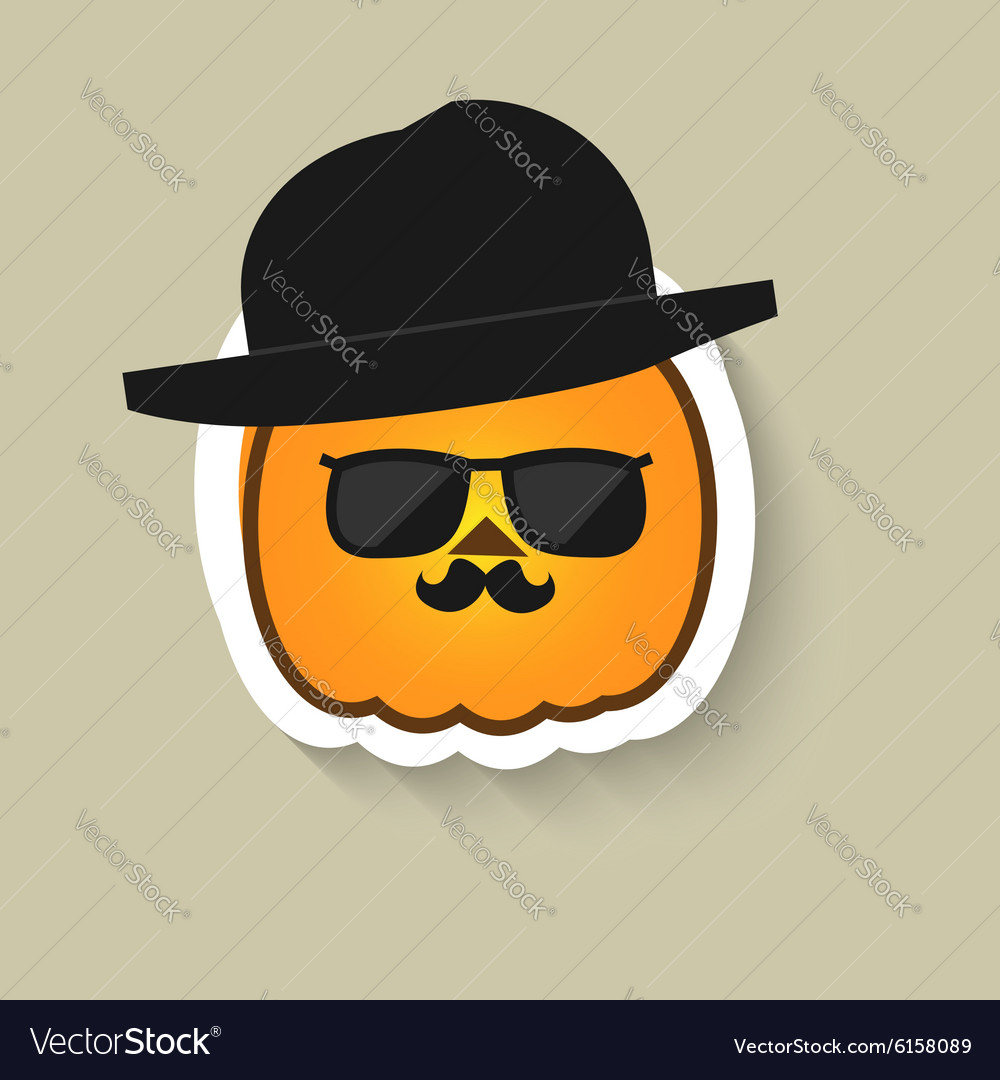 Pumpkin hipster in sunglasses and bowler hat