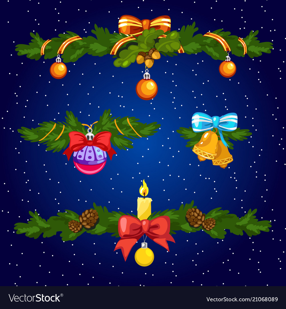 Set of decorative elements for christmas cards