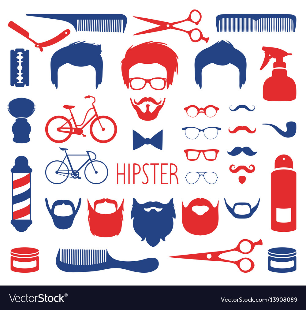 Set of dress up with different men hipster