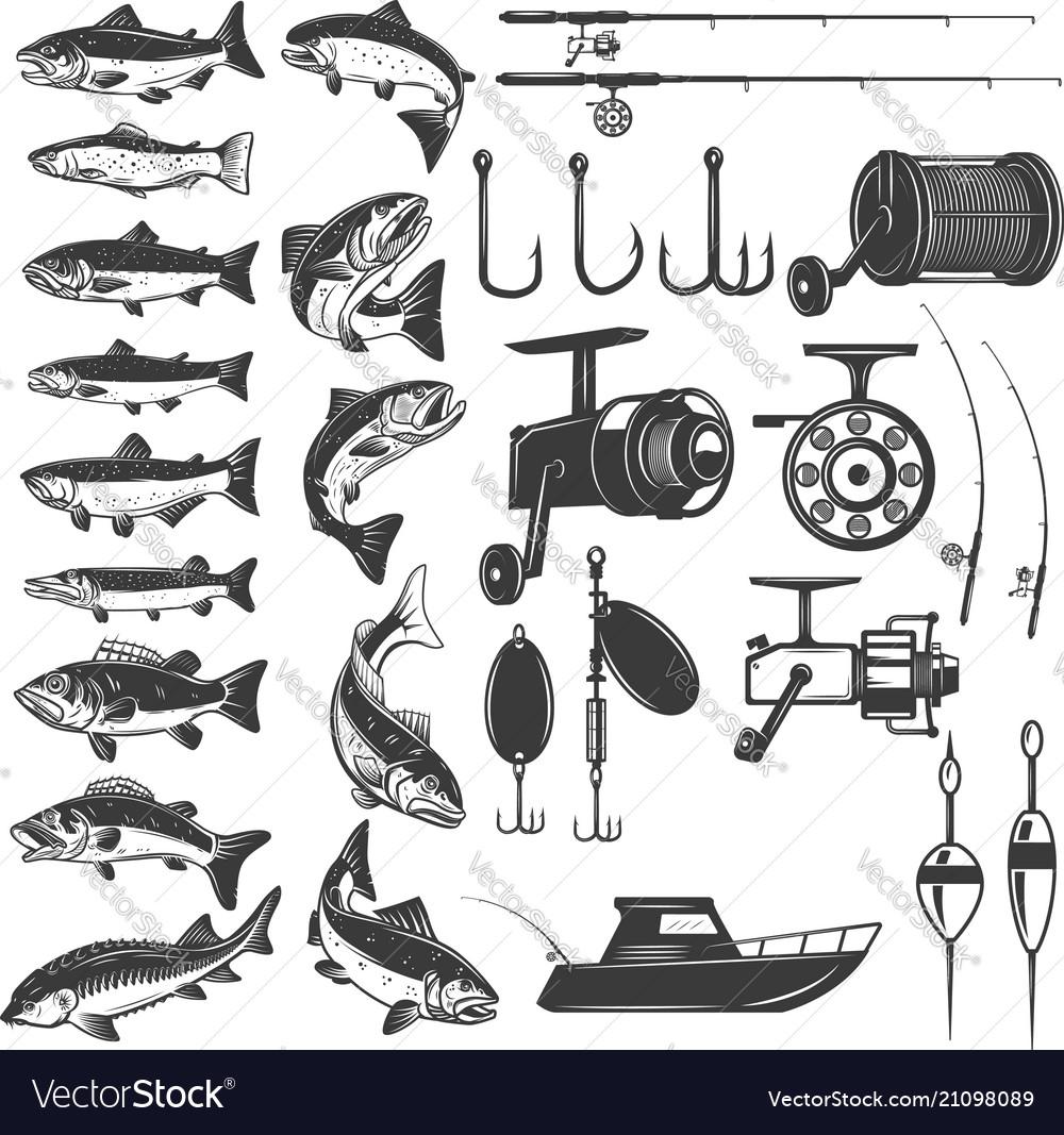 Set of fishing icons fish icons fishing rods