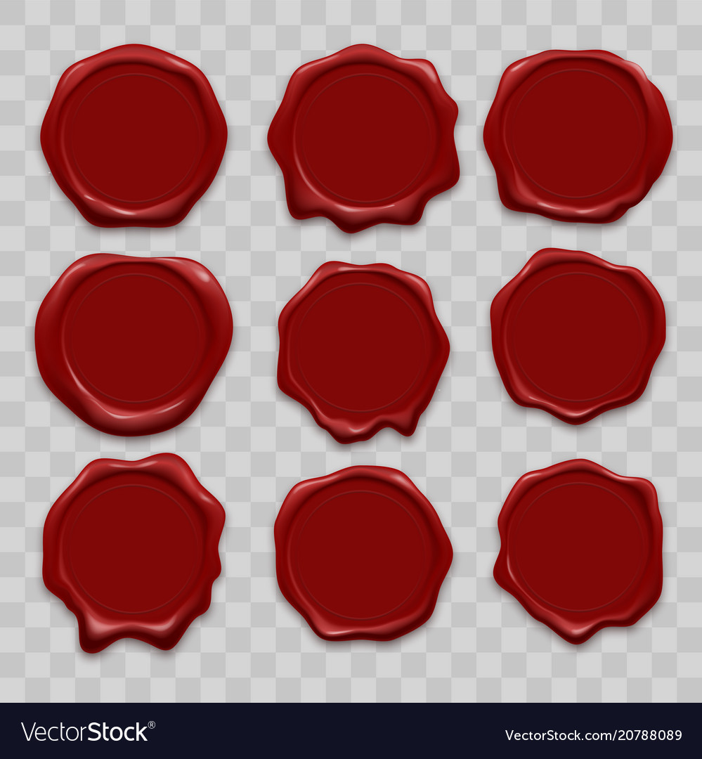 Stamp wax seal icons set vector image