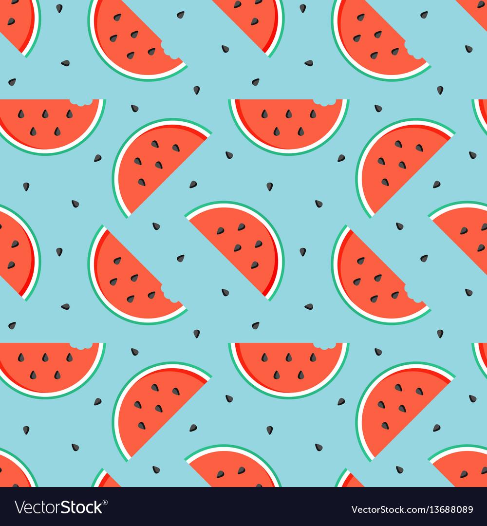 Watermelon slices with seeds seamless pattern