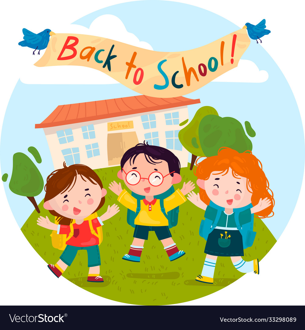 Welcome back to school children rejoice and jump