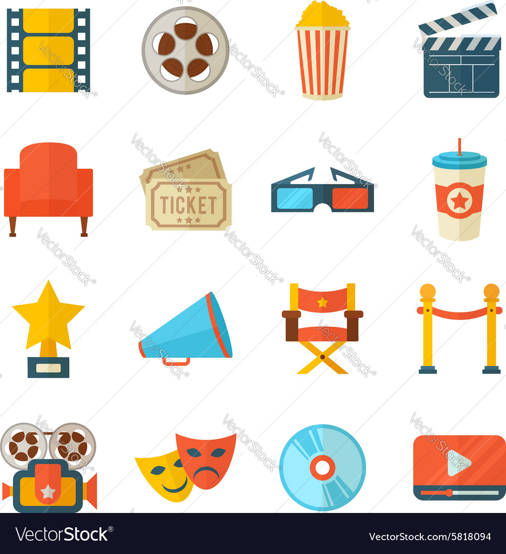 A detailed set of flat style cinema icons for web