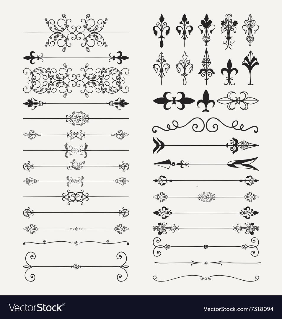 Black Hand Drawn Dividers Arrows Swirls