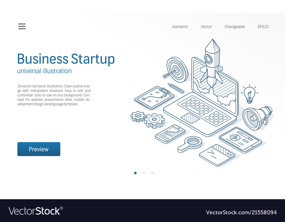 Business project startup modern isometric line