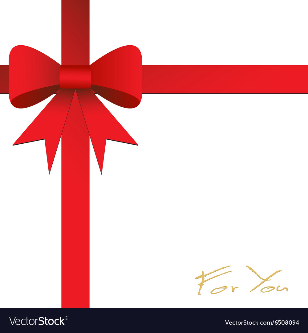 card design with red ribbon on white background vector image