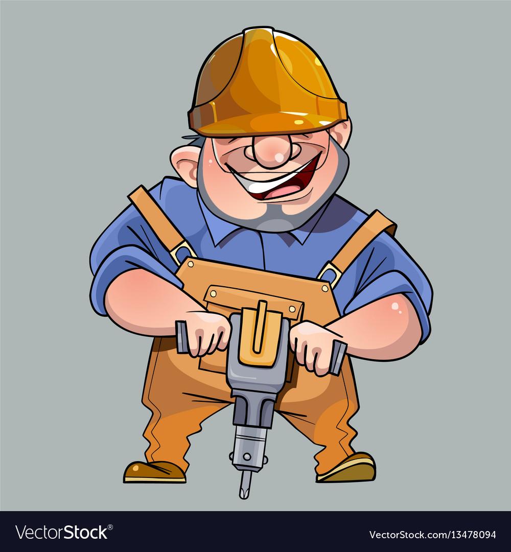 Cartoon happy man in helmet and working