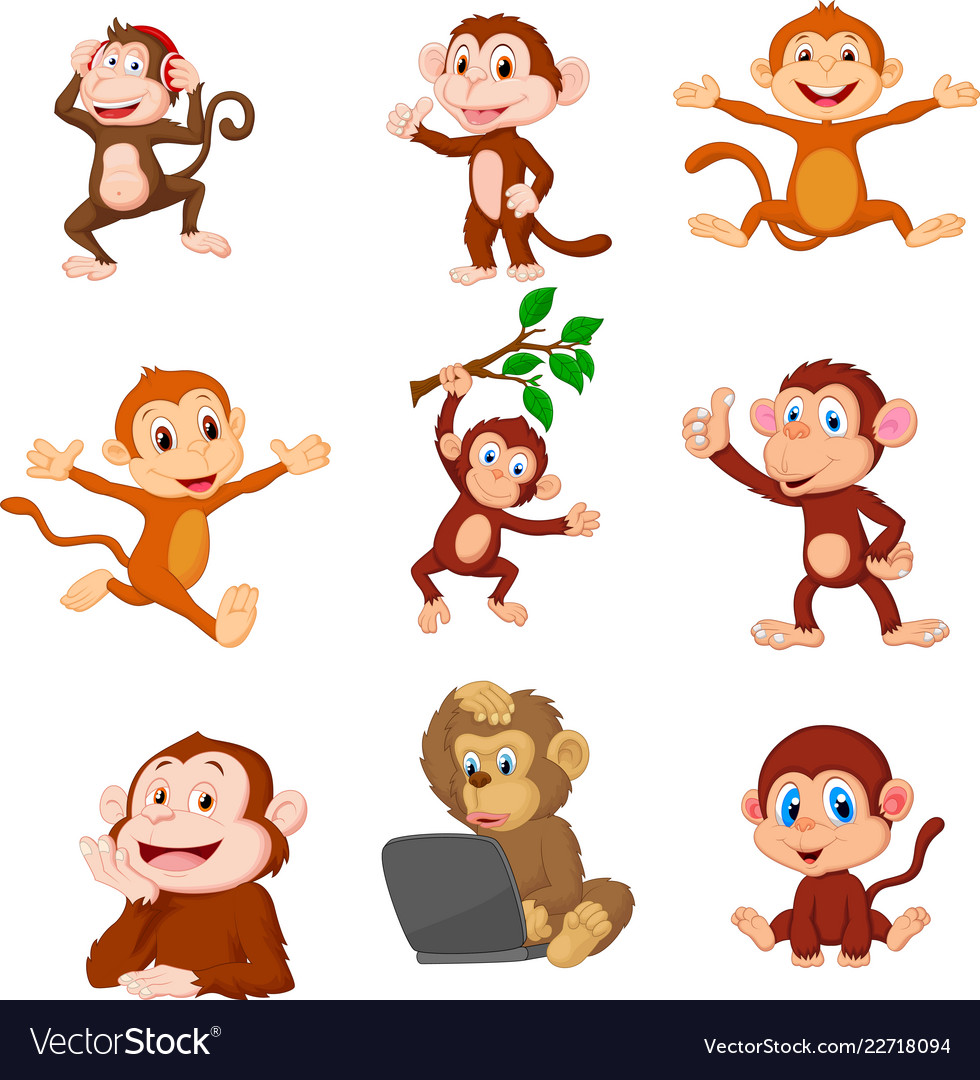 cartoon happy monkeys collection set royalty free vector