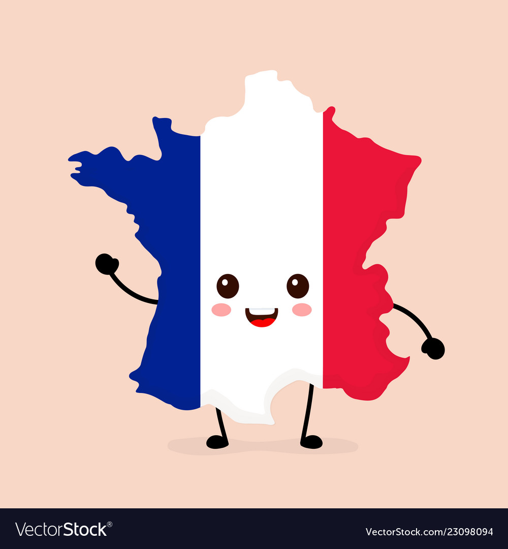 Cute funny smiling happy france map on