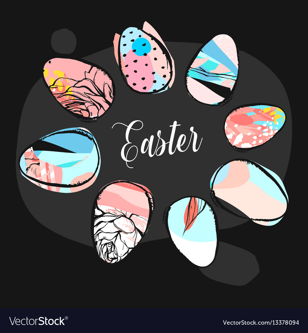 Hand drawn abstract creative easter