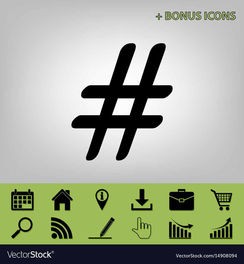 Hashtag sign black icon at vector image