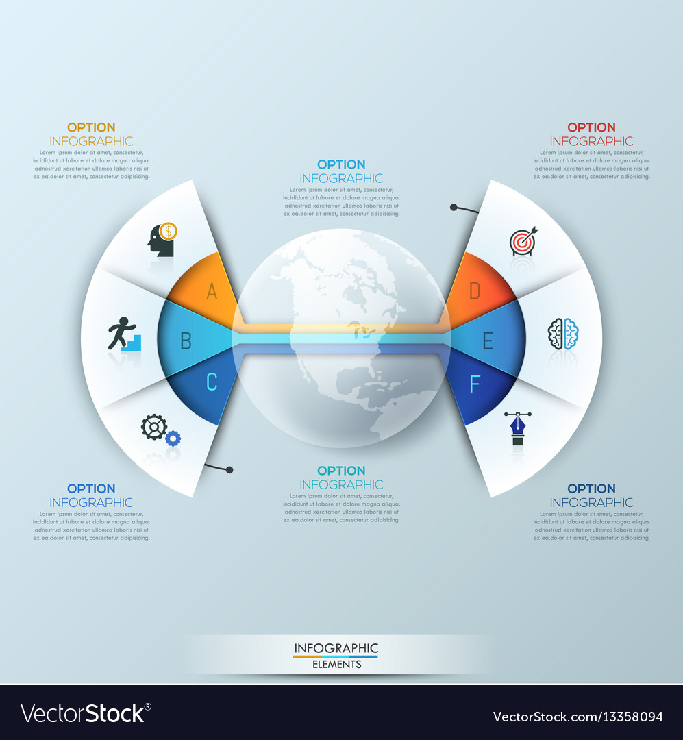 Modern infographic design template 2 connected