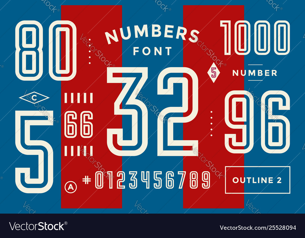 Numbers font sport font with numbers and numeric
