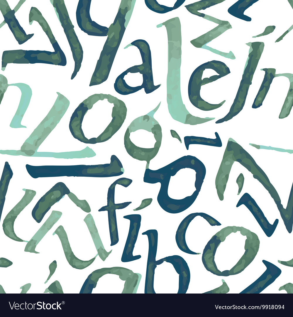Seamless pattern with watercolor letters