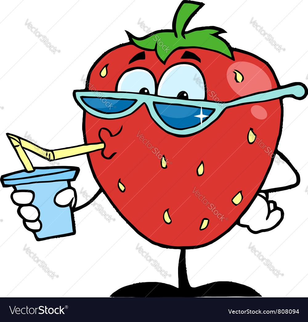 Strawberry Cartoon Character Juice Drink vector image