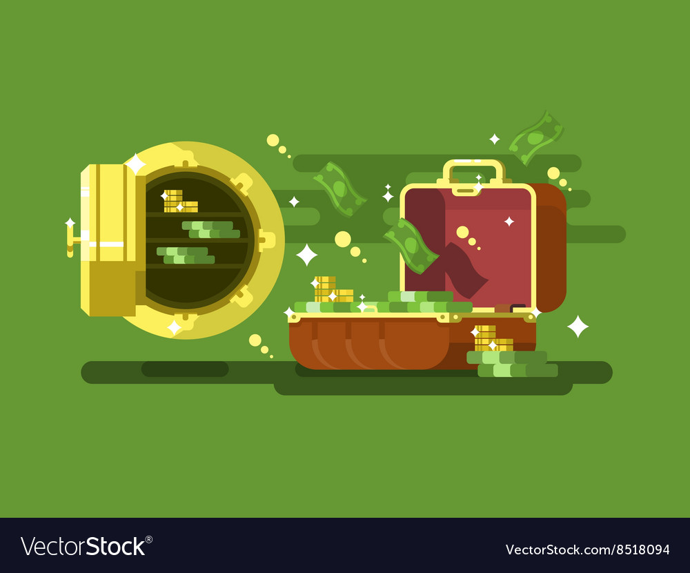 Suitcase and safe with money