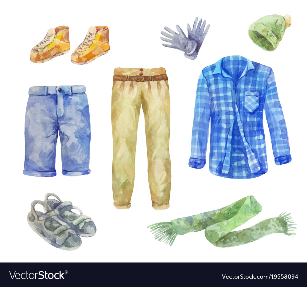 Watercolor mens clothing collection on white