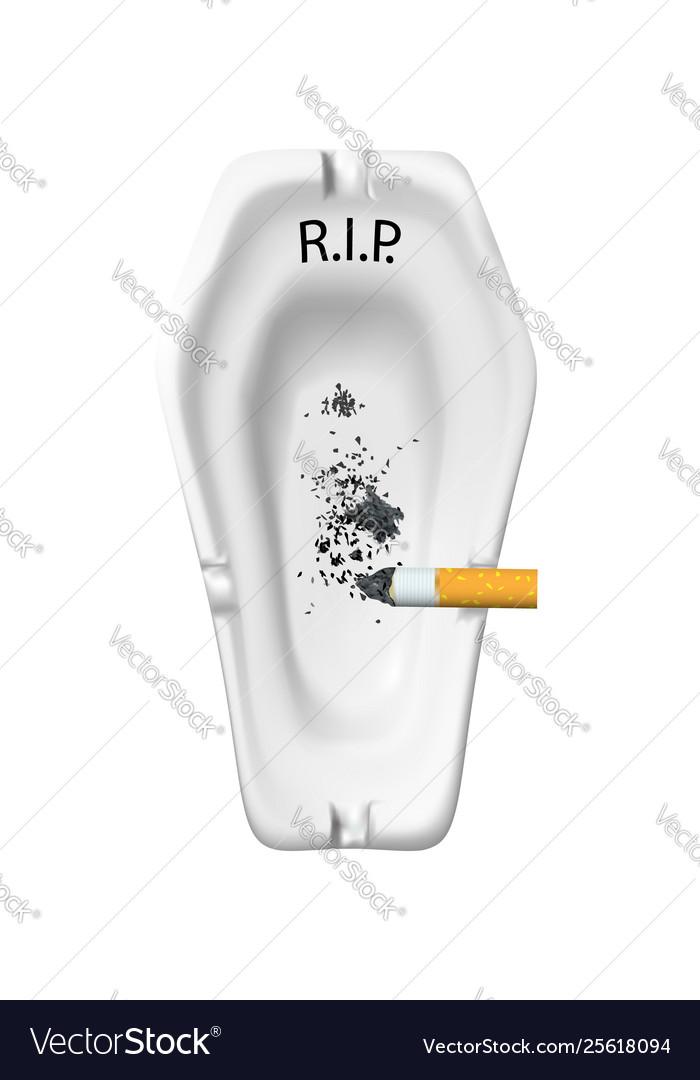 White realistic ashtray for cigarettes in a shape
