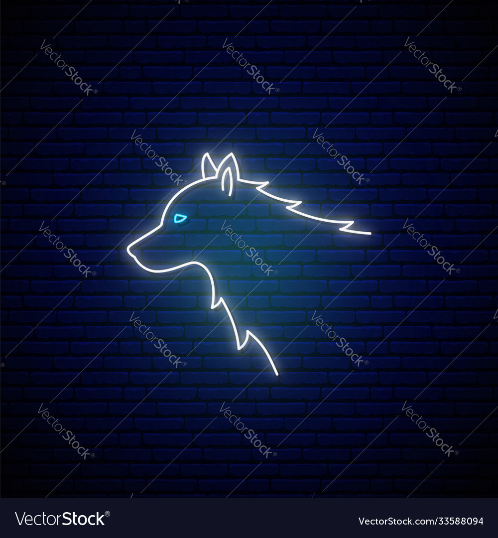 Wolf head neon sign white glowing emblem