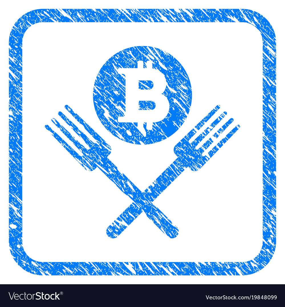Bitcoin forks framed stamp