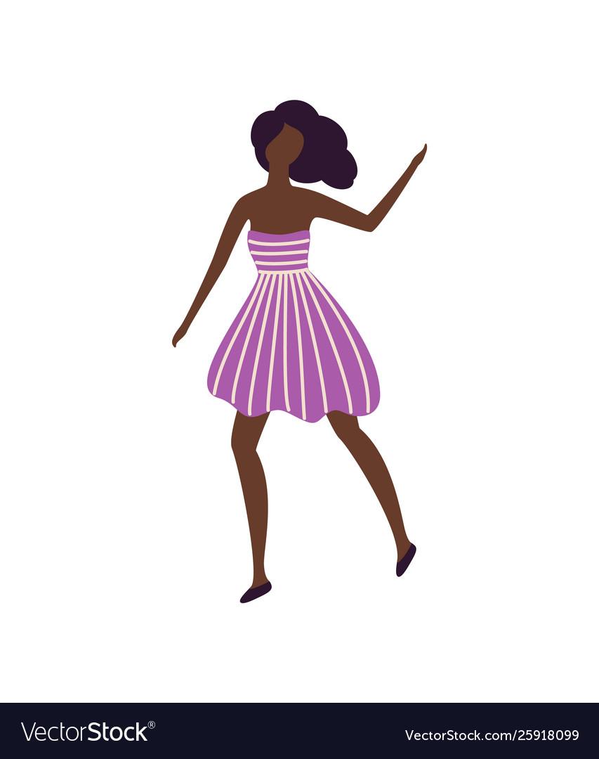 Black skin girl dancer in good mood having fun