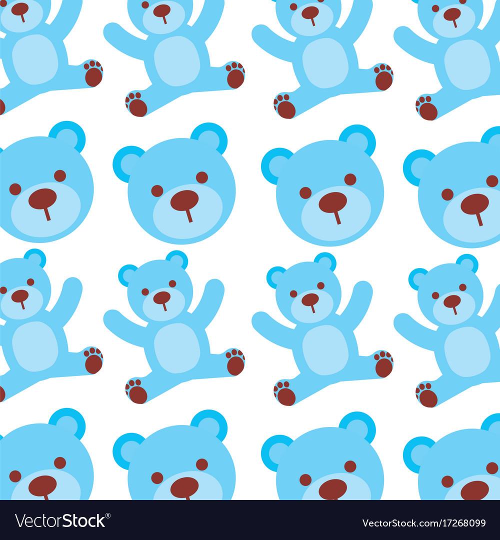 Cartoon Blue Bear Boy Baby Shower Seamless Pattern