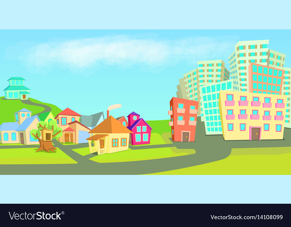 City houses horizontal banner types cartoon style