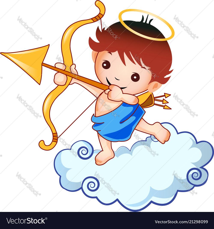 Cupid kid angel graphic design logo