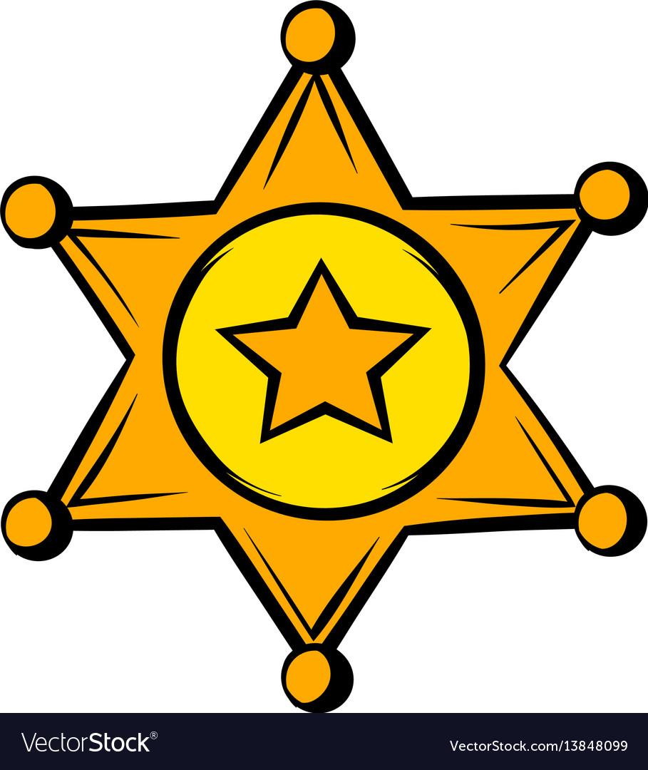 Golden sheriff star badge icon icon cartoon
