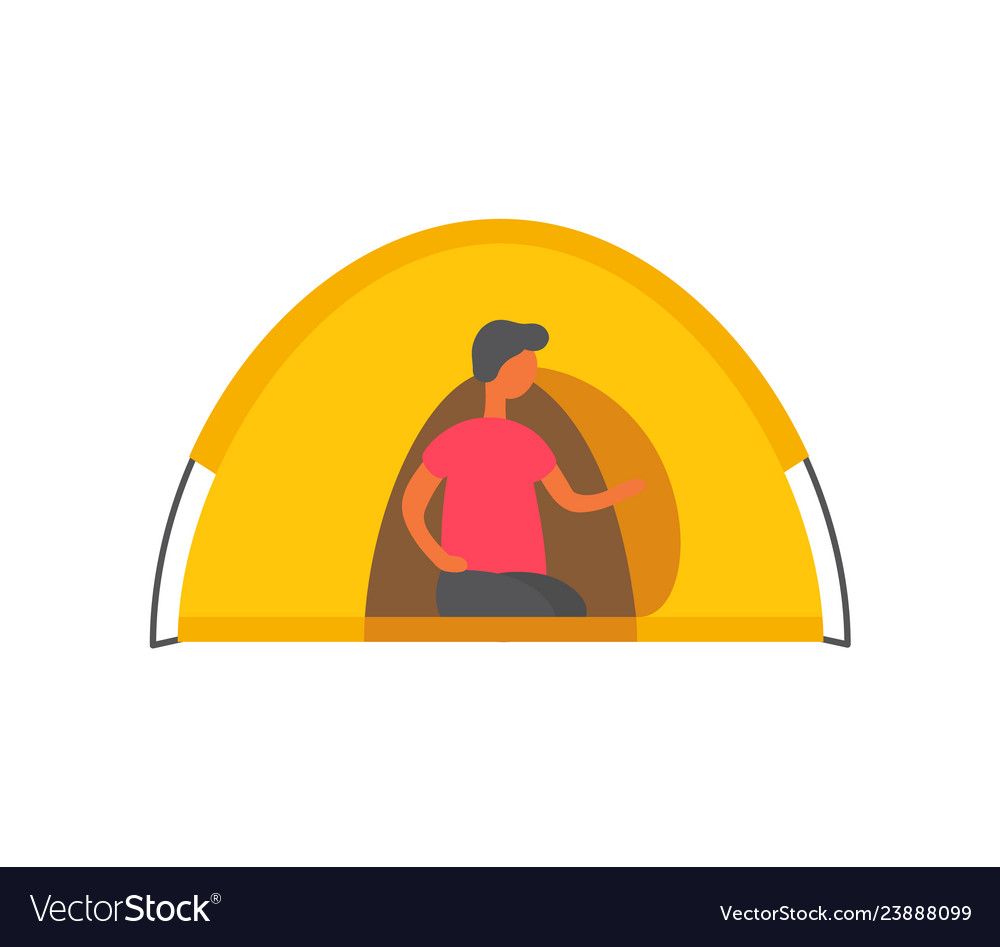 Male person in tent isolated man in shelter