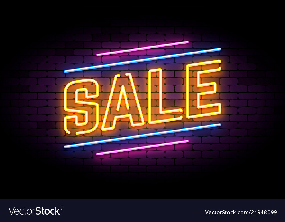 Neon sign in retro style for sale and discount